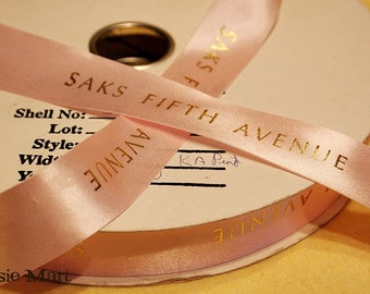 Sax FIfth Ribbon Light Pink 10 yards 7/8 inches wide Dept Store