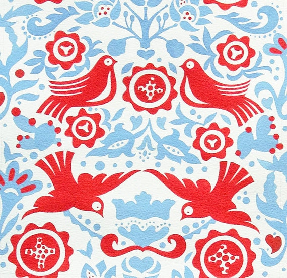Alexander Henry La Paloma Folklorico Cotton Fabric 2 yards and 31 inches Blue Red LAST