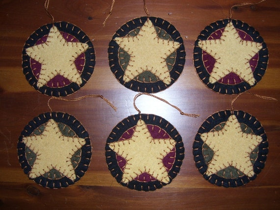 Primitive Folk Art Star Penny Rug Ornament Set Of 6