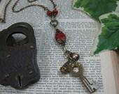 Skeleton Key Jewelry  - Slim Styled Brass and Coral Beaded Skeleton Key Necklace