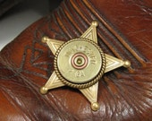 Shotgun Casing Jewelry - Bullet Jewelry - Sheriff Badge - 12 Gauge Brass Shotgun Shell Pinback Sheriff Badge - Gift for Guy