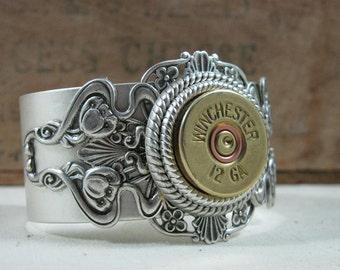Bullet Jewelry - Shotgun Casing Jewelry - 12 Gauge Shotgun Shell Steampunk Inspired Antique Silver Cuff Bracelet - Designer Bullet Jewelry