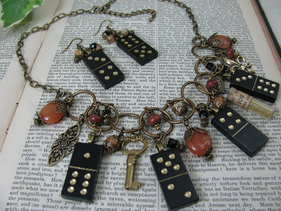 Game Piece Jewelry - Vintage Miniature Black Domino Necklace Assemblage & Matching Earrings Set - Antique Brass, Rust Tones and Black