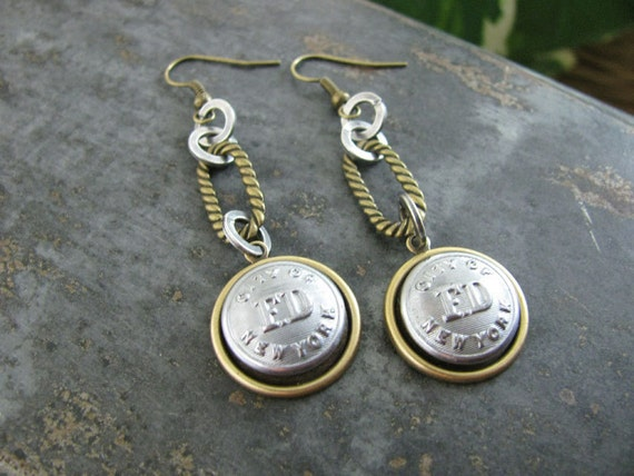 Button Jewelry - Authentic Silver City of New York FD Fireman Uniform Cuff Button Industrial Mixed Metal Dangle Earrings