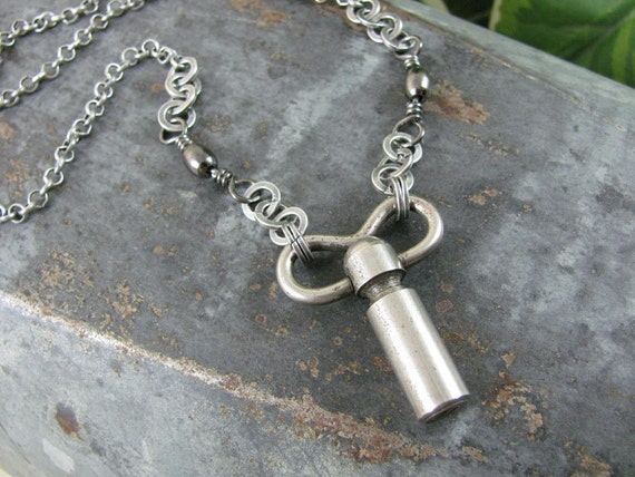 Key Jewelry - Unique Steel Winder Key Necklace - Industrial, Unsex, Steampunk Style - Great Gift for Man