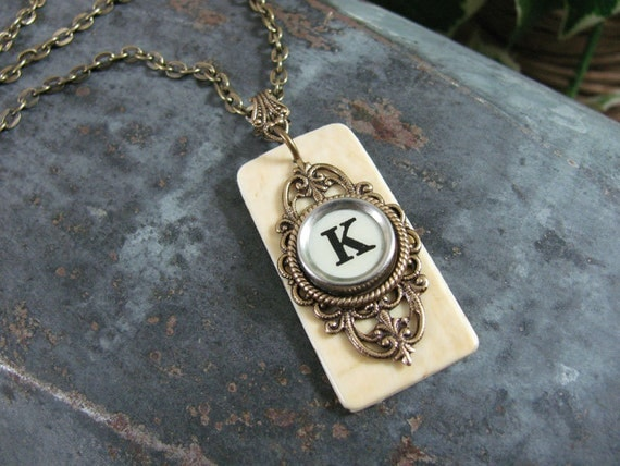 Piano Key Jewelry - Authentic Ivory Piano Keytop and Initial K Typewriter Key Pendant Necklace
