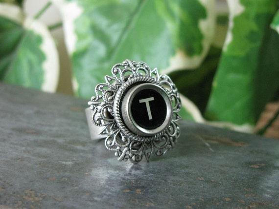 Typewriter Key Jewelry  - Fully Adjustable Initial T Black Typewriter Key Ring on Fancy Hexagon Filigree Setting