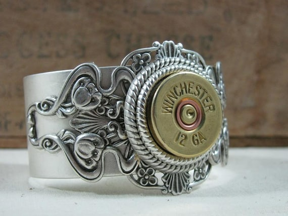 Shotgun Casing Jewelry - 12 Gauge Shotgun Shell Steampunk Inspired Antique Silver Cuff Bracelet