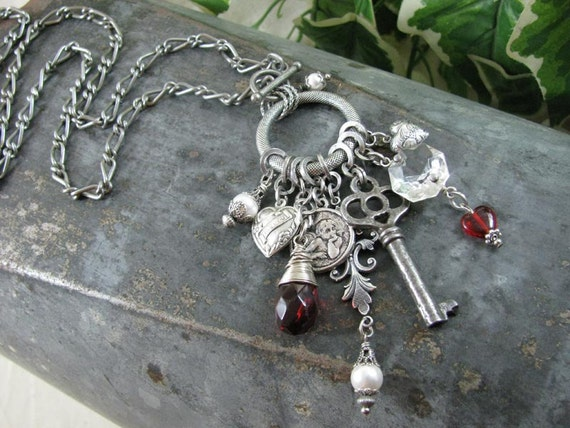 Upcycled Necklace Assemblage - Ring of Love - Hearts, Angels, Red/White Crystals Say I Love You