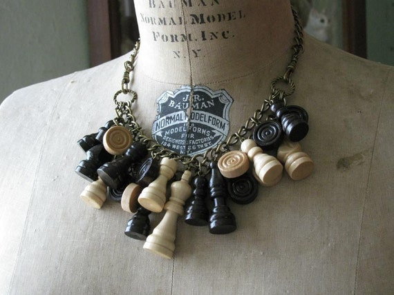 Upcycled Wooden Chess and Checker Piece Statement Necklace - Earth Tones - Great for Fall Fashions - Twilight Inspired Jewelry
