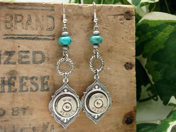 Bullet Casing Jewelry - 45 Auto Silver Medallion with Turquoise Southwest/Western Style Dangle Earrings - December Birthstone