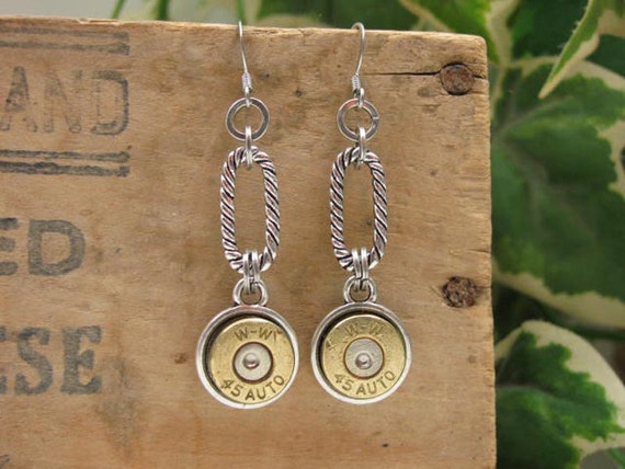 Bullet Casing Jewelry - Authentic Winchester 45 Auto ACP Dangle Bullet Earrings - Mixed Metals