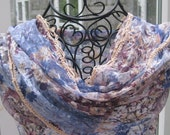 SALE - BLUE DAWN Blue-Cream-Purple  Scarf