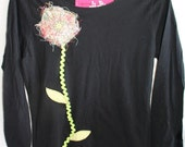 black womens thread flower applique tee with ric rac