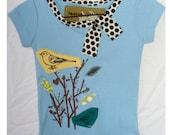 girls applique & screenprinted bird short sleeve shirt