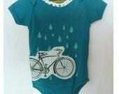 organic cotton applique and screenprint bike bicycle infant onesie bodysuit