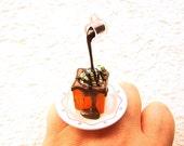 Kawaii Food Ring Chocolate Sauce Ice Cream on Bread Floating Japanese Ring
