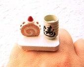 Kawaii Cake Ring Green  Tea Strawberry Roll Cake Miniature Food Jewelry SALE