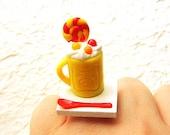 Kawaii Food Ring Ice Cream Sundae  Lollipop Miniature Food Jewelry SALE