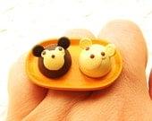 Kawaii Food Ring Chocolate Bear Cake Minature Food Jewelry SALE