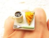 Kawaii Miniature Food Ring Coffee Banana Pie Jewelry