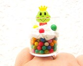 Cute Frog Ring Miniature Food Jewelry Ice Cream And Candie