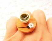 Green Tea Ring Miniature Food Flower Jewelry