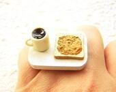 Cofffee Ring   Miniature Food Jewelry Peanut Butter Toast SALE