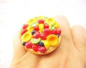 RESERVED for Celine Kawaii Food Ring Fruit  Pie Miniature Food Ring