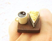 Chocolate Cake Ring Miniature Food Ring Jewelry Cake And Coffee