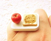 Kawaii Food Ring Red Apple Peanut Butter Toast Miniature Food Jewelry SALE