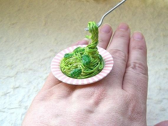 Kawaii Cute Japanese Floating Ring-Spaghetti With Basil