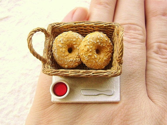 RESERVED FOR KC   Basket Of  Bagels And Jam Ring
