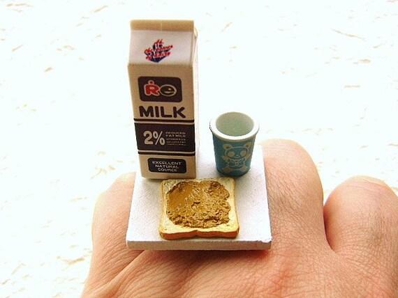 Food Ring Milk Peanut Butter Toast Miniature Food Jewelry