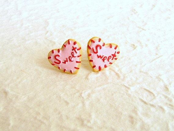 Heart  Cookie Earrings Miniature Food Jewelry Gifts Under 10 SALE
