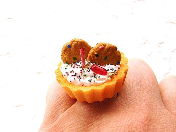 Birthday Ring Miniature Food Jewelry Ice Cream And Cookies