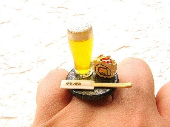 Kawaii Cute Japanese Sushi  Ring Beer Miniature Food Jewelry