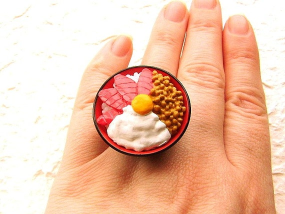 Kawaii Cute Japanese Ring  Maguro Don  Bowl Of Rice With Toppings SALE