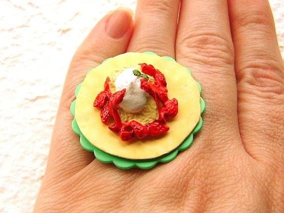 Food Ring Crepe Ice Cream Strawberry Miniature Food Jewelry SALE