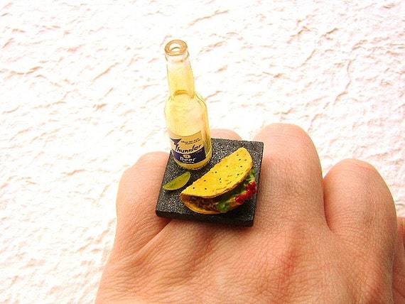 Food  Ring Mexican Beer And Tacos Miniature Food Jewelry