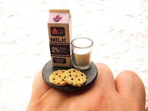 Kawaii Food Ring Cookies Chocolate Milk Miniature Food Jewelry