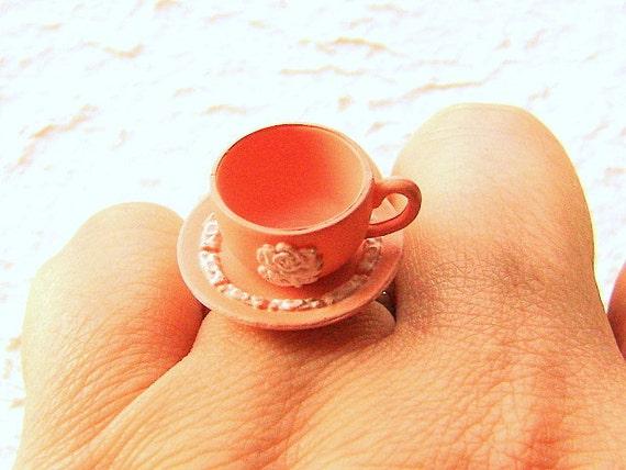 Kawaii Cute Japanese Ring Pink Teacup And Saucer