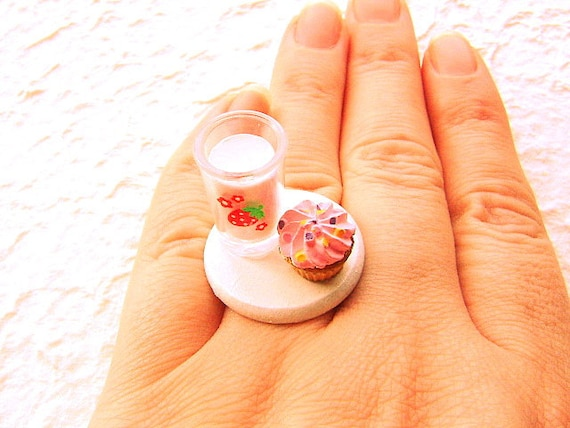 Strawberry Milk And A Cupcake Ring
