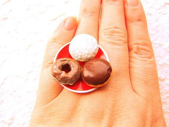 Kawaii Cute Japanese Ring Donuts Red Plate Miniature Food Jewelry SALE
