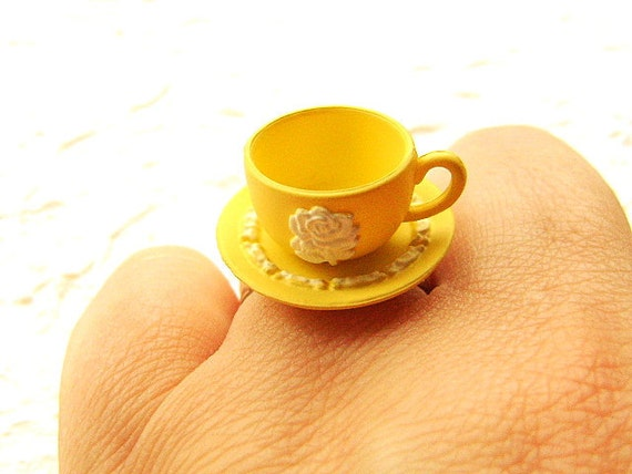 Kawaii Cute Japanese Ring  Yellow Teacup And Saucer Miniature Food Jewelry