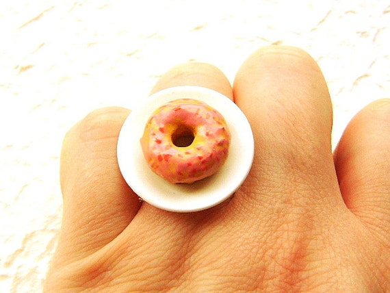 Donut Ring  Miniature Food Jewelry Strawberry Glazed Doughnut Donut Gifts Under 10