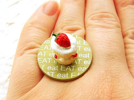 Strawberry Cake Ring Miniature Food Jewelry  Eat Shortcake SALE