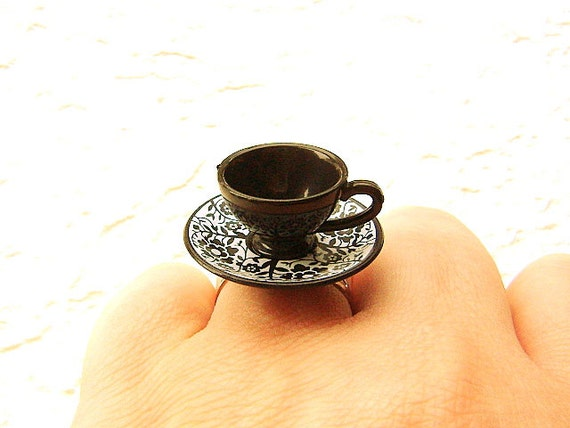 Black Teacup And Saucer Ring