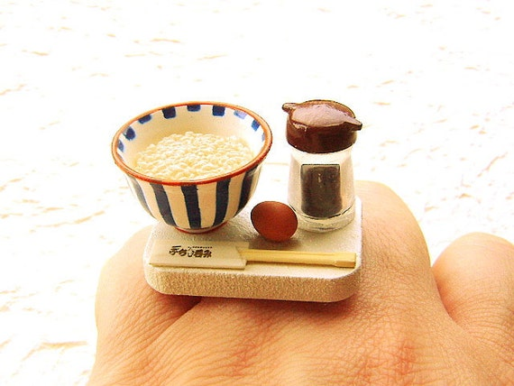 Japanese Food Ring Rice Soy Sauce Egg Miniature Food Jewelry