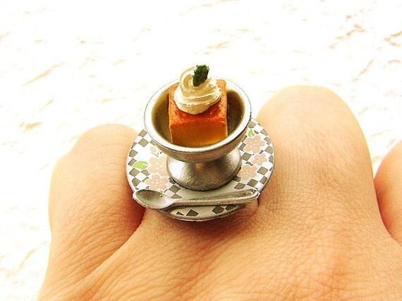 Kawaii Food Ring Cute Japanese Custard Pudding With Whip
